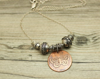 Butterfly Necklace Bali Silver Bead Necklace Silver And Copper JMK