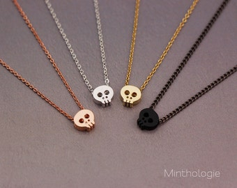 Skull Necklace N018 / gold fill sterling silver rose gold fill 14k gun metal black layering necklace punk tiny bridesmaids gift