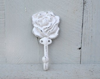 Shabby White Rose Wall Hook / French Cottage Chic / Feminine Bedroom Decor / Girls Room Coat Hook / Shabby Chic Bathroom Towel Hook Rose