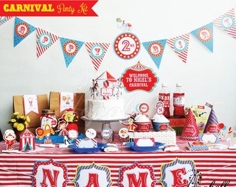 Circus Party Kit. Complete Set Carnival Party Printables. DIY Circus birthday party. Personalized Carnival Birthday Kit.