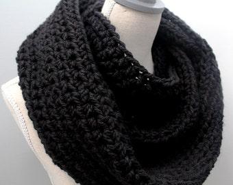 black infinity scarf,winter scarf black,black scarf,black wool scarf,black eternity scarf,chunky scarf black,black circle scarf,woolen scarf