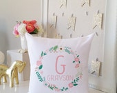 Monogram Throw Pillow Cover - Floral Design Newborn Baby Girl