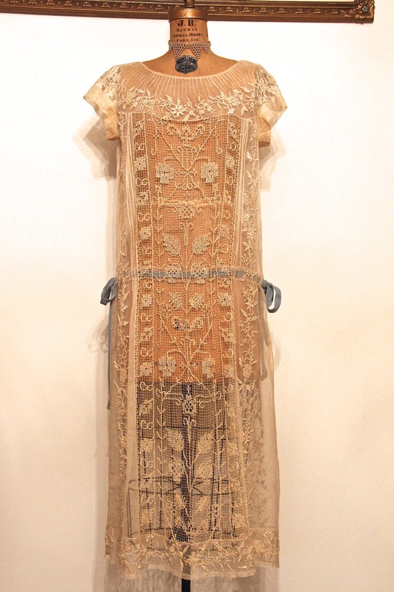 Vintage 1920 39 s flapper wedding dress tambour by for Vintage flapper wedding dress