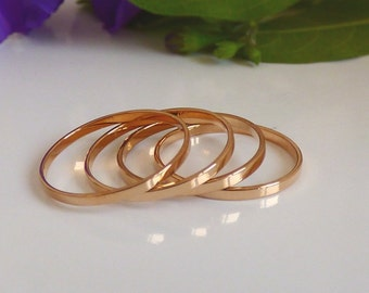 Rose Gold Ring - 4 Above the Knuckle Rings - Rose gold plated thin shiny bands - set of 4 midi rings, Thin Ring.