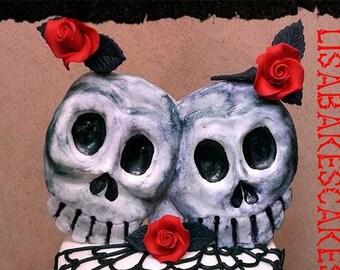 Handmade edible fondant skull wedding cake topper