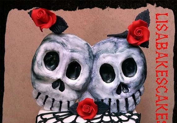 Handmade edible fondant skull wedding cake topper
