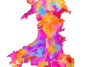 "MAP OF WALES / Signed print by Niki Pilkington / 8.5"" x 11"" / Cymru"