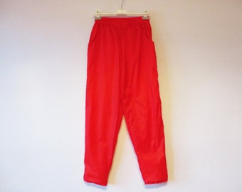 Bright Red Nylon Sport Pants High Waist Waterproof Colorful Sporty Trousers Cotton Lining Medium Size