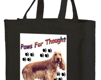 Golden Cocker Spaniel Cotton Shopping Bag with gusset and long handles, 3 colour options