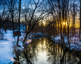 Sunset over a creek in a snow covered forest, near Abbottstown, Pennsylvania - Rural Landscape Fine Art Print or Wrapped Canvas