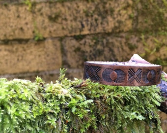 Leather diffuser bracelet - tooled design on leather, you pick the color - personal diffuser bracelet for aromatherapy