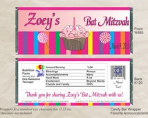 Candy Bar Buffet, Cupcake Wrapper, Cupcake Decor, Bat Mitzvah Wrappers, B'nai Favors, Preschool Party, 1st Birthday Favor (Set of 12) (W683)