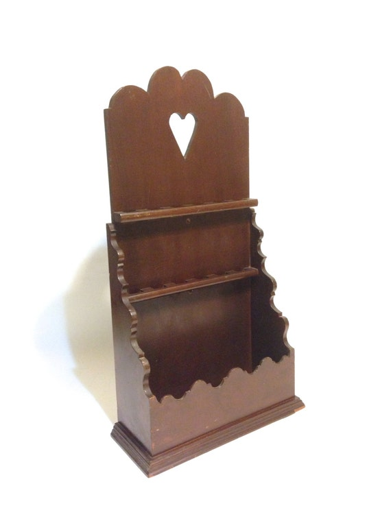 Solid wood wall mount 12 spoon holder cottage chic letter - Wooden letter holder wall mount ...