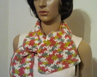 Colorful crocheted scarf