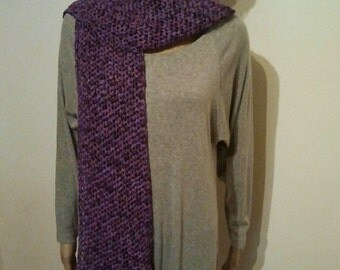 Long crochet scarf from purple wool Ribbon yarn in batik look
