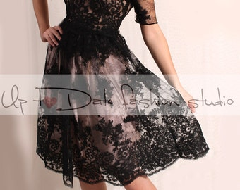 Little black lace wedding dress with sleeve/romantic  bridal gown V back