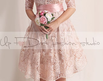 Lace short   Wedding party /reception/knee length/ V front / 3/4 Sleeves /blush pink Bridal Gown
