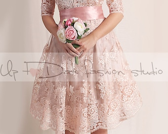 Lace short  Wedding dress/V front  with Sleeves /blush pink Bridal Gown