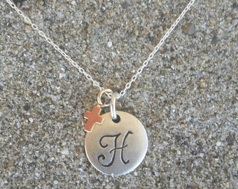 Monogram Necklace, Initial Necklace, Cross Necklace, Matte Silver and Gold