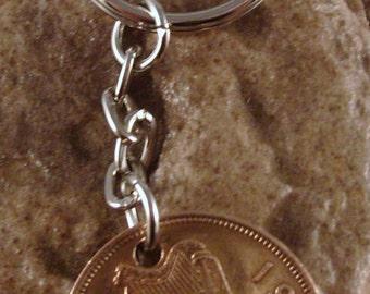 1964 1/2d Half Penny Leath Phingin Irish Coin Keyring Key Chain Fob 53rd Birthday