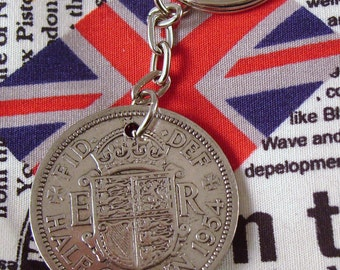1954 Half Crown Coin Keyring Key Chain Fob