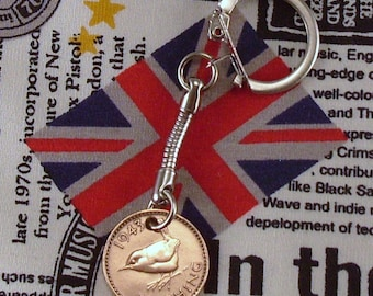 1943 British Farthing Coin Keyring Key Chain Fob King George VI Wren