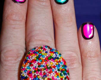 Sprinkle Ring - 30x40mm Oval Ring - Real Candy Sprinkles