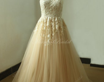 High collar champange long lace wedding dress