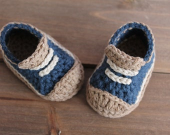 "Crochet Pattern Baby Boys Booties ""Crete"" Sneaker - PATTERN ONLY"