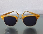 Vintage MOD 1960s Sunglasses  // Metallic Yellow Gold Frames // Handmade in Hong Kong