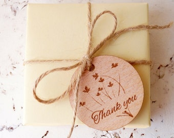 Wedding favor tags, round wooden thank you tags, wedding shower gift tags, gift tags, product tags