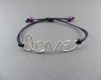 love Bracelet - Wire Word Expression Bracelet - Inspirational Bracelets for Women - Adjustable Bracelet