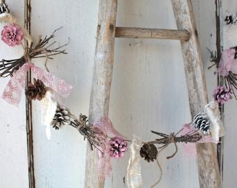 Pinecone Garland/ Pink White Pinecones/ Valentine's Decor/ Rustic Holiday Decor/ Christmas Garland/ Vintage Wedding/ Cottage Chic Garland
