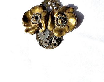 SALE Steampunk Flower Necklace Vintage Watch Parts Brass Gears woman teen jewelry OOAK gift ideas NGA14 Industrial gamer fantasy