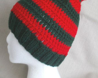 Handmade knit hat/beanie with red & dark green stripes