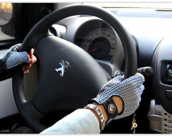 Driving Ladies Gloves/ Blue Fingerless Leather Gloves /Genuine  Leather and Crochet Driving Cycling Gloves/ Mittens/ gift for her