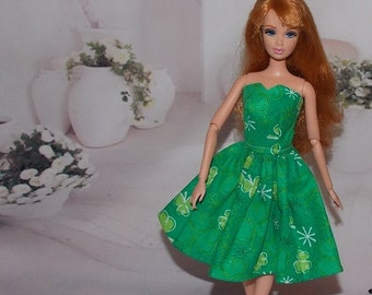 Green Clover Dress for  St. Patrick's Day by LinHal. 1:6 Scale Fashion Doll Clothes