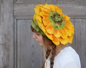 Unique felted hat like sunflower, sculptural yellow beret , spring summer festival fashion. OOAK