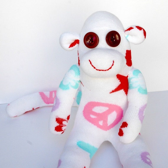 Hippie White Sock Monkey stuffed animal Baby shower gift Toddlers toy OOAK Birthday present Stuffed animal peace sign