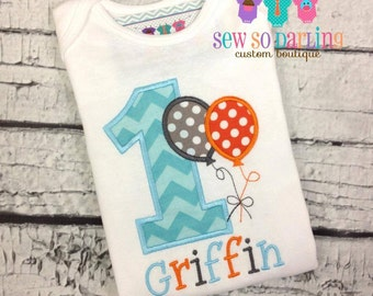 1st Birthday Boy Shirt - Toddler Birthday Shirt - Balloon Birthday Outfit - Birthday shirt