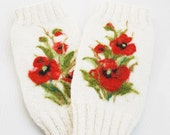 Reserved Caitlin..Hannd knitted, White Fingerless Gloves with red poppies, Christmas gift, Women winter accessories, Red Poppies