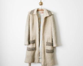 70s curly sheep icelandic wool coat