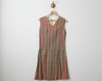 vintage linen checkered print dress