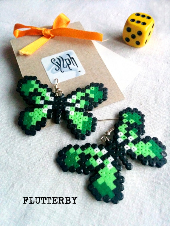 Green pixelated butterfly earrings made of Hama Mini Perler Beads in 8bit retro style