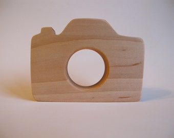 Wood Toy -  Camera Teether - organic, safe and natural for baby, for your little photographer