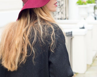 70's Luxe Burgundy floppy hat in 100% percent wool felt