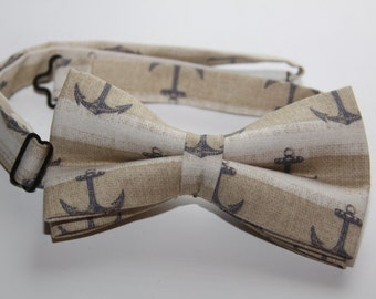 Mens bow tie, nautical bow tie, nautical tie, anchors tie, fashion tie, pre tied bow tie