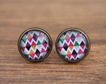 Geometric Earrings, Bright, Diamond Design, Multicoloured, Small Studs, Stud Earrings, Studs. Post Earrings, Glass Dome Earrings
