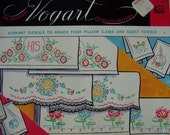 Vintage Linen Pillowcase His Her Mr MrsTransfer Embroidery  Pattern Florals