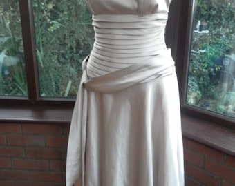 Bridesmaid prom evening special occasion dress calf length well made in slipper satin uk size 12 - usa size-8